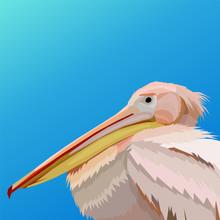 Creative Artwork Flamingo Pop Art Portrait Background Blue Gradient