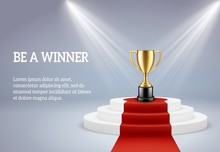 Award Podium With Trophy. Rewarding Round Stage For Winner Of Sport Or Business Compitetion In Lights Vector 3d Image
