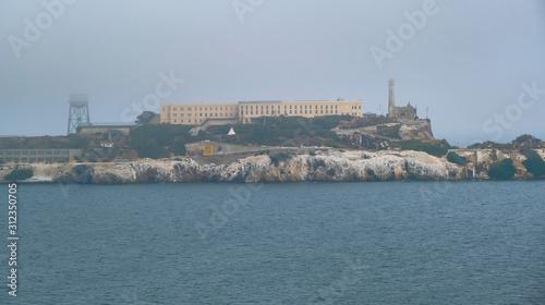 Alcatraz Across the Bay in the Fog Canvas Print