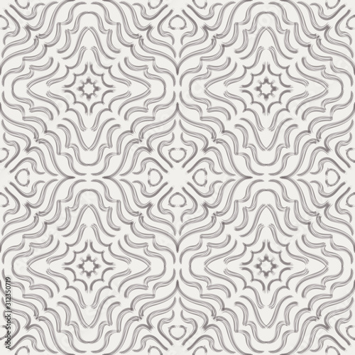 Symmetrical tribal ethnic curl graphical motif. Brown on cream brush stroke ink. Seamless repeat vector pattern tile.