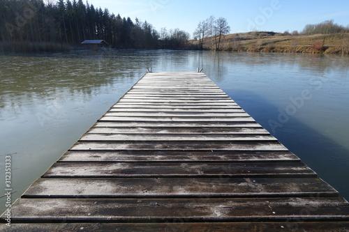 Fototapeta pomost   jezioro-przyroda-niebo-slonce