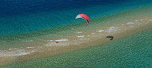 Aerial Drone Ultra Wide Photo Of Kite Surfer Practising In Exotic Turquoise Sand Bar