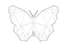 Low Poly Art Of Animals. Butterfluy. Good For Wall Decoration. Printable Images. Suitable For Coloring Pages.