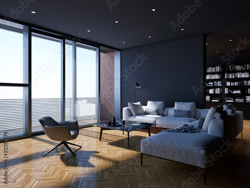 Obraz large luxury modern minimal bright interiors room mockup illustration 3D rendering - fototapety do salonu