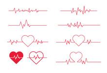 Red Heartbeat Line Icon. Vecto...