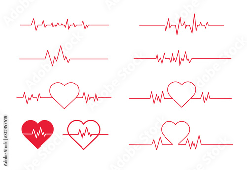 Red heartbeat line icon. Vector illustration. on white background Canvas-taulu