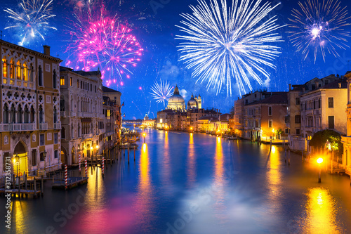 New Years firework display over Grand Canal in Venice, Italy Wallpaper Mural