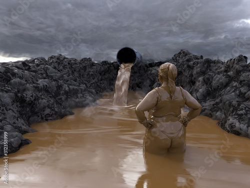 Photo woman bathe in the toxic mud