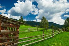 Wooden Fence On A Ranch Closeu...