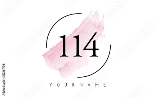 Fotografia  Number 114 Watercolor Stroke Logo Design with Circular Brush Pattern