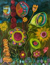 Psychedelic Folk Art Flowers A...