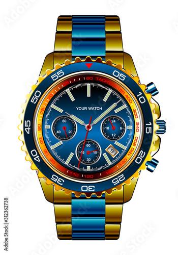 Fotografía  Realistic wristwatch chronograph gold blue metallic design for men luxury on white background vector illustration