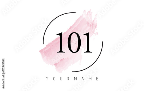 Photo Number 101 Watercolor Stroke Logo Design with Circular Brush Pattern