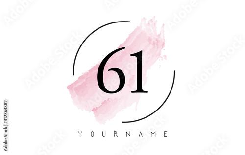 Fotografia  Number 61 Watercolor Stroke Logo Design with Circular Brush Pattern