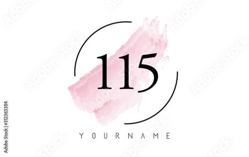 Fotografia  Number 115 Watercolor Stroke Logo Design with Circular Brush Pattern