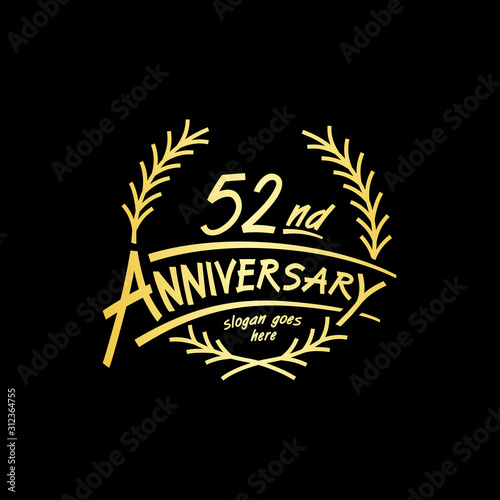 Tela  52 years design template. Vector and illustration. 52 years logo.