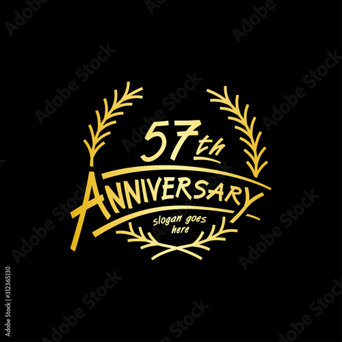 57 years design template. Vector and illustration. 57 years logo. Wallpaper Mural