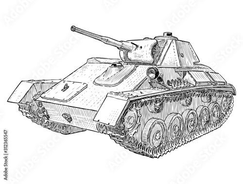 Obraz Sketch of  battle tank from the Second World war - fototapety do salonu
