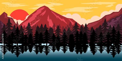Fototapeta Poster template with wild mountains landscape. Design element for banner, flyer, card. Vector illustration obraz