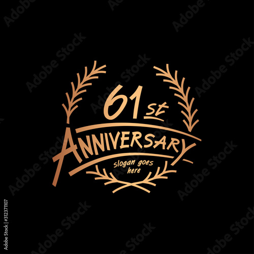Fotografia  61 years design template. Vector and illustration. 61 years logo.
