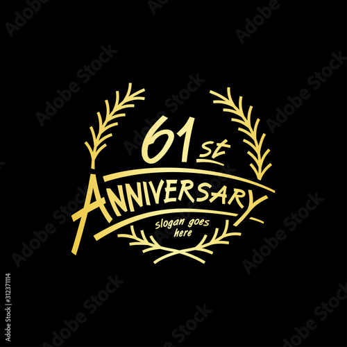 Papel de parede  61 years design template. Vector and illustration. 61 years logo.