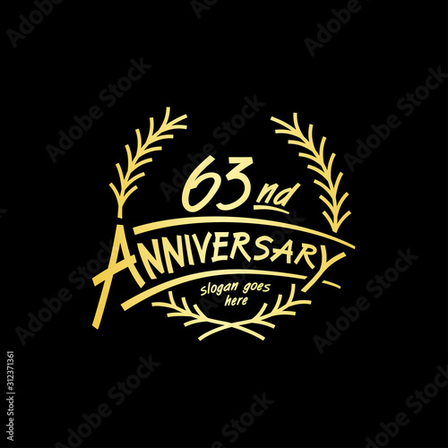Fotografia  63 years design template. Vector and illustration. 63 years logo.