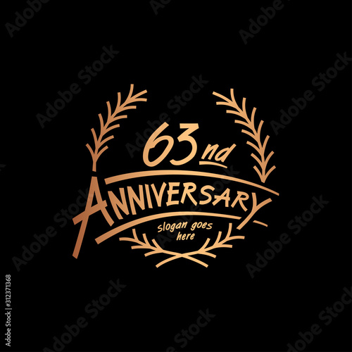 Tela  63 years design template. Vector and illustration. 63 years logo.
