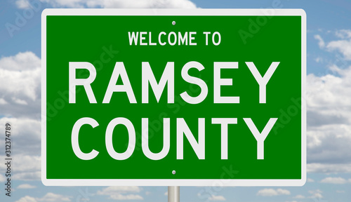 Photo  Rendering of a green 3d highway sign for Ramsey County