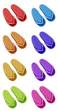 Set Of Sandals In Different Co...