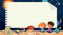 Paper Template With Kids Reading Books And Space Background