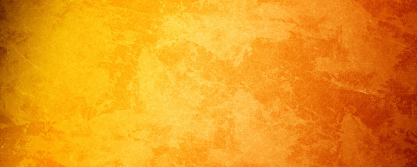 Yellow orange background with texture and distressed vintage grunge and water...