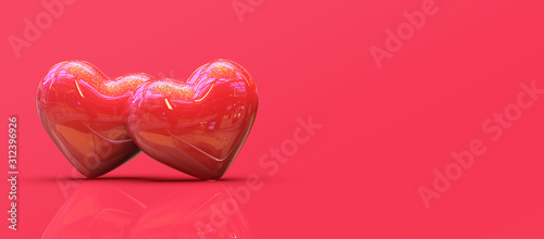 Two red glossy of hearts isolated on red background, valentine day concept. 3d rendering