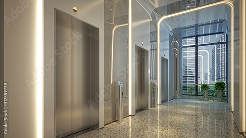 Fotografía Modern corridor with elevators and led lights, without people, empty commercial