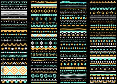 Fotografie, Obraz Border, divider, brush line, pattern set