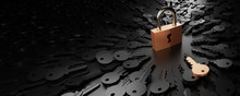 One Padlock With Infinite Keys, Metaphor Of Problems, Solutions  And Risk Management; Original 3d Rendering