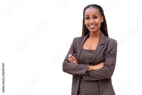 Cuadros en Lienzo  Warm, friendly, beautiful cheerful african american executive business woman iso