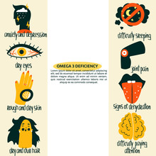 Hand Drawn Omega 3 Fatty Acids Deficiency: Dry Eyes, Hair, Skin, Anxiety And Depression, Joint Pain, Signs Of Dehydration. Vector Illustration Is For Pharmacological L Or Medical Poster, Brochure.