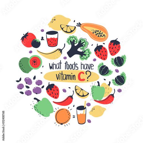Photo Hand drawn vitamin C ascorbic acid food sources: lemon, orange, guava, blackberry, papaya, broccoli, brussel sprouts