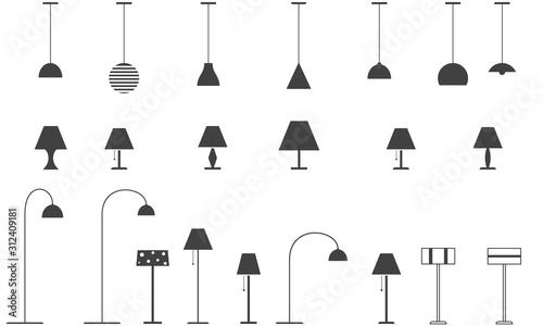 Obraz Set of lamps - floor lamp, table lamp, ceiling lamp. Vector illustration. - fototapety do salonu