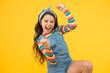Leinwandbild Motiv summer vacation joy. little child yellow background. old fashioned handkerchief for kid. beauty and fashion. small girl long hair. happy childhood. retro girl express happiness. feeling great success