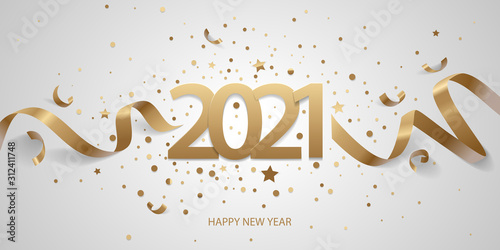 Obraz Happy New Year 2021. Golden numbers with ribbons and confetti on a white background. - fototapety do salonu
