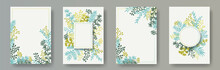 Tropical Herb Twigs, Tree Branches, Flowers Floral Invitation Cards Set. Bouquet Wreath Elegant Cards Design With Dandelion Flowers, Fern, Lichen, Olive Branches, Sage Twigs.