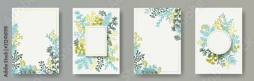 Fototapeta Tropical herb twigs, tree branches, flowers floral invitation cards set. Bouquet wreath elegant cards design with dandelion flowers, fern, lichen, olive branches, sage twigs. obraz