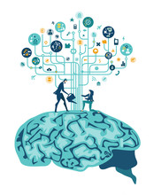 Brain Functioning, Concept Illustration. Two People Growing The Tech Tree On The Humans Brain. Tech Transplant.