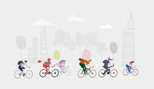 City People Riding Bikes. Eco ...