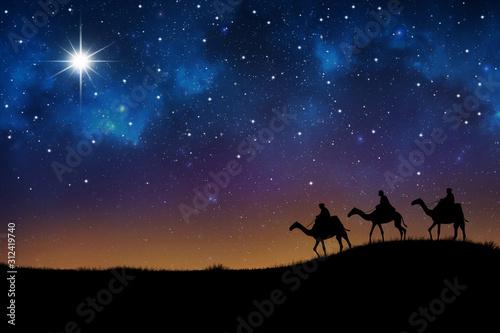 Photo wisemen visit baby Jesus