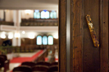 Mezuzah Affixed To The Doorpost Of Neve Shalom Synagogue In Istanbul