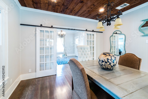 Remodel with Sliding French Doors from Dining to living, shiplap Wallpaper Mural