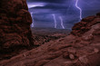 Night Storm with thunderbolts in South Window, Arches National Park, Utah, USA