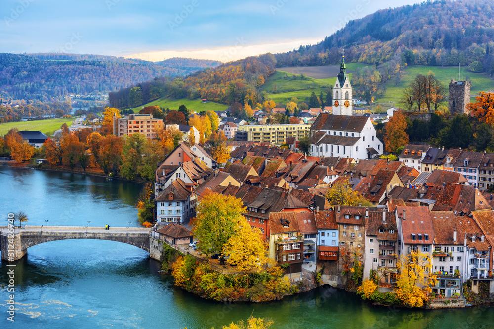 Fototapeta Laufenburg Old town on Rhine river, Switzerland